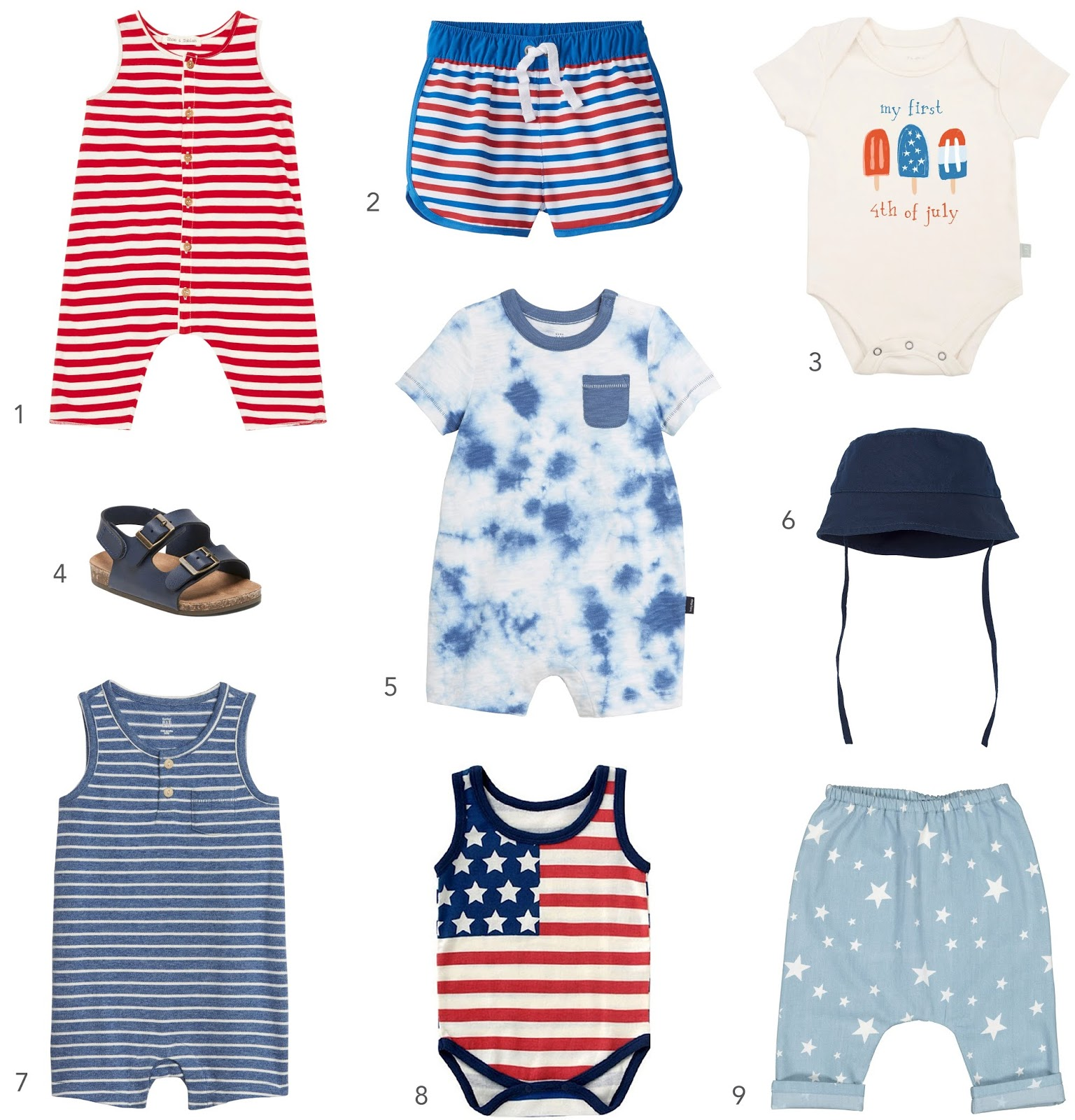A round-up of 9 baby boy 4th of July outfit ideas