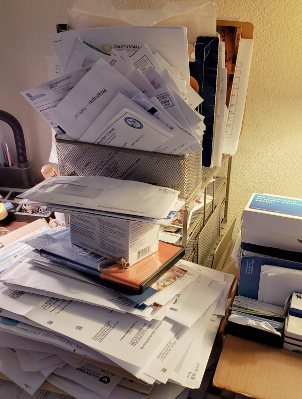 My loaded desk organizer in use.