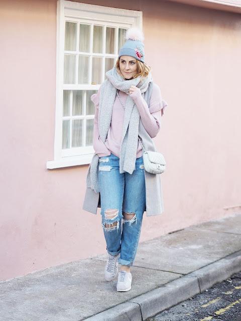 scarf, boyfriend jeans, jumper
