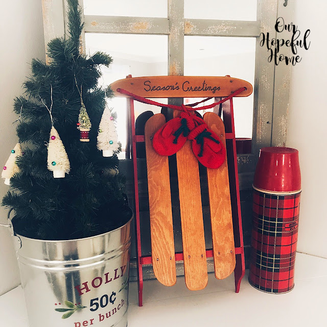 galvanized holly bucket mini sled red mittens red plaid thermos