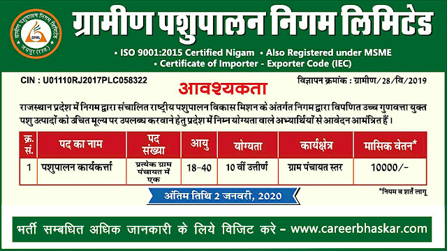 Gramin pashupalan vacancy 2019-20, GPNL recruitment 2019-20, www.graminpashupalan.com, vacancy 2020, www.graminpashupalan.com bharti, gpnl recruitment 2019 www.graminpashupalan.com vacancy 2019 in rajasthan, Rajasthan Recruitment.