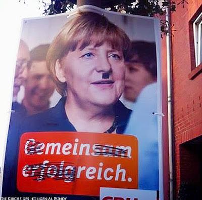 Witziges Wahlplakat CDU Angela Hitler Merkel mit Bart