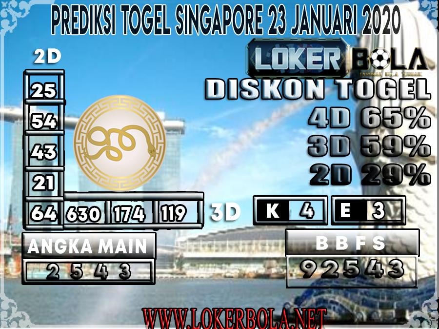 PREDIKSI TOGEL SINGAPORE LOKERBOLA 23 JANUARI 2020