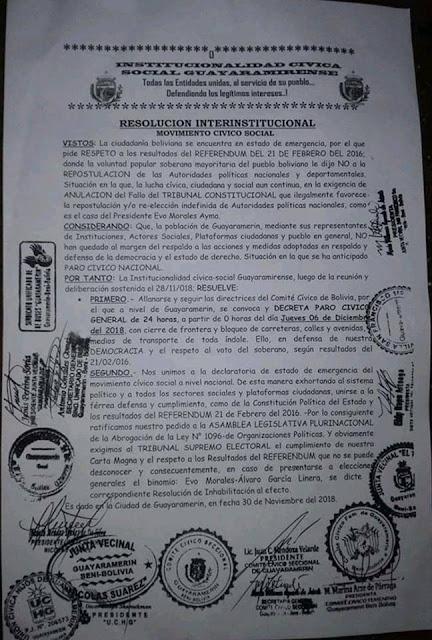 Comunicado via consulado Brasil/Bolívia para quem planeja viajar para o exterior (Bolívia) nesta quinta-feira (06) de Dezembro de 2018