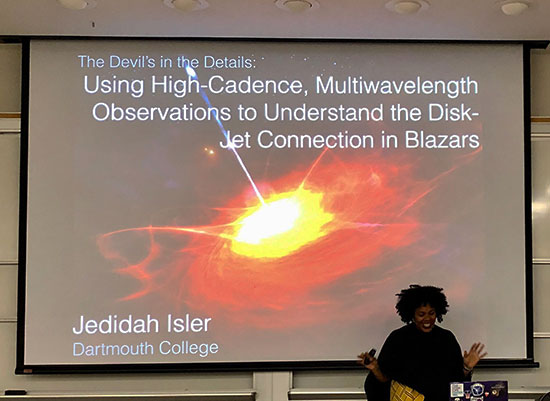 Professor Jedidah Isler, Dartmouth College,  leads UCI Colloquium on Blazars (Source: Palmia Observatory)
