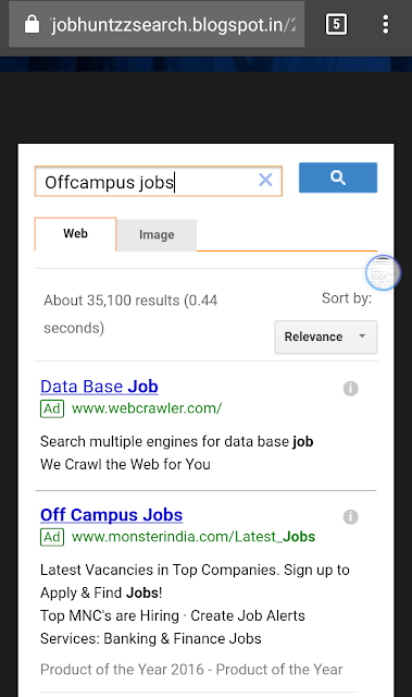 Jobhuntzz search results for offcampus jobs query