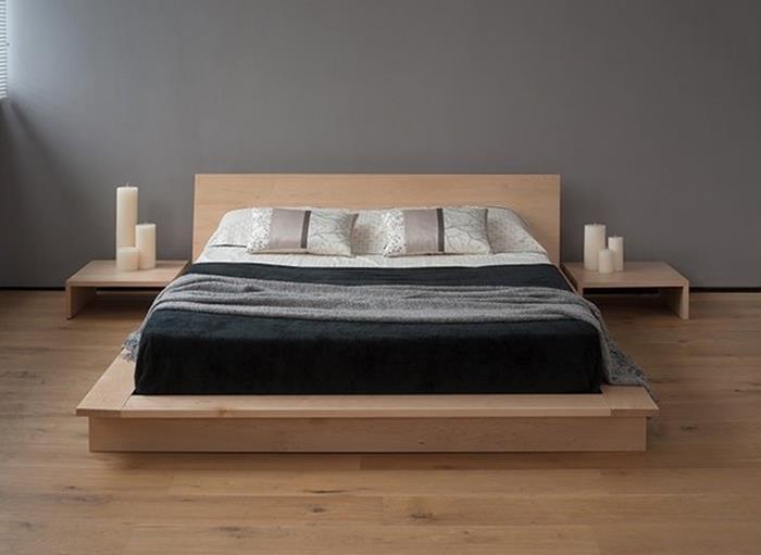 japon tarzı doğal yatak odası dekorasyonu