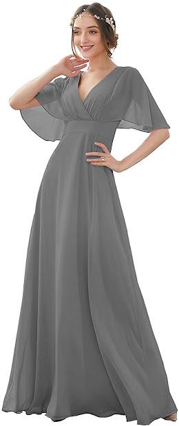 Cheap Grey Chiffon Bridesmaid Dresses