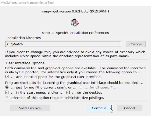 mingw setup  - specify installation preference