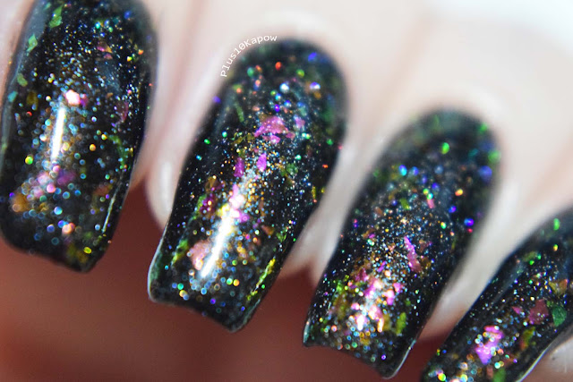 Wikkid Polish Gothic Collection Swatches Beguiled glow in the dark flakie topper