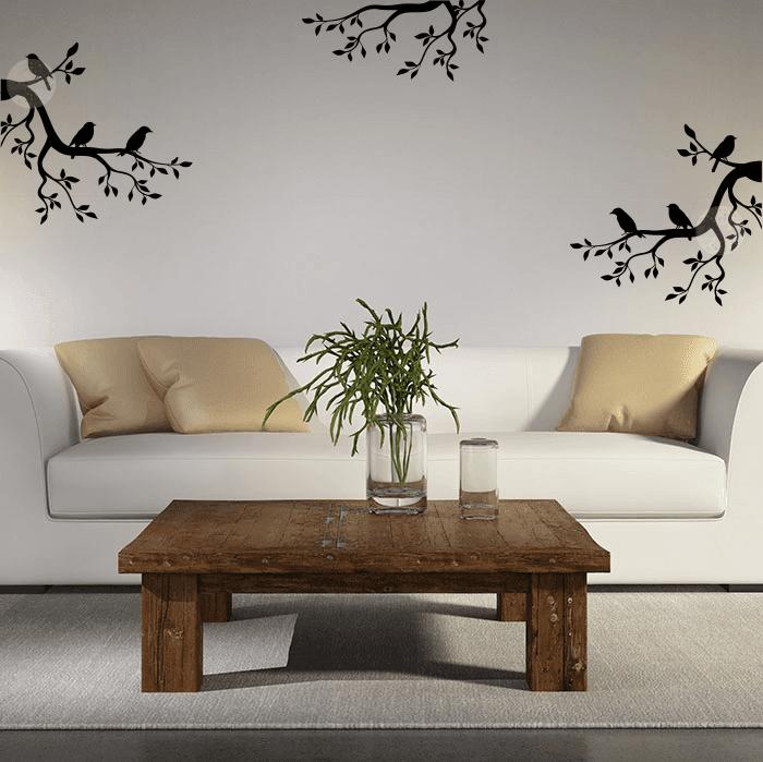 Vinilo decorativo de pared ramas con p jaros w405 cdm - Vinilos de motos para pared ...