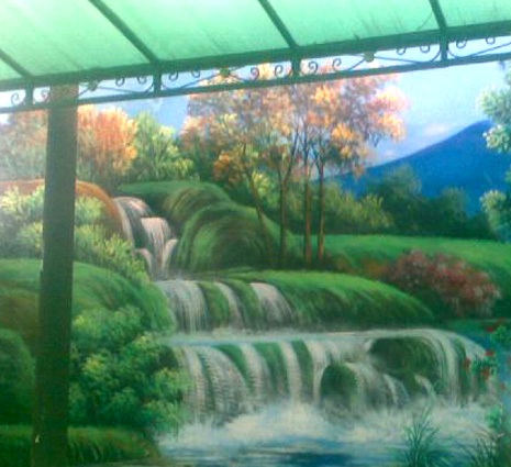 Lukisan Mural air terjun