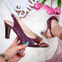 Sandale dama cu toc piele naturala visinii Sorila