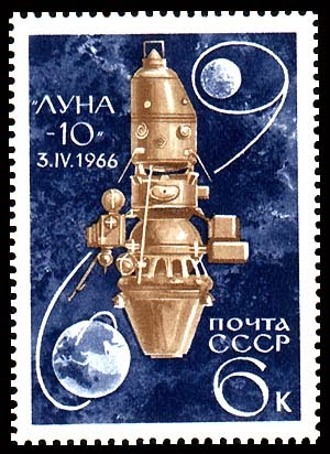 francobollo commemorativo del record di Luna 10