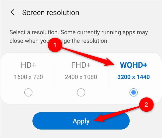 """Samsung Galaxy S20 اختر دقة الشاشة ثم حدد الزر """"تطبيق"""""""