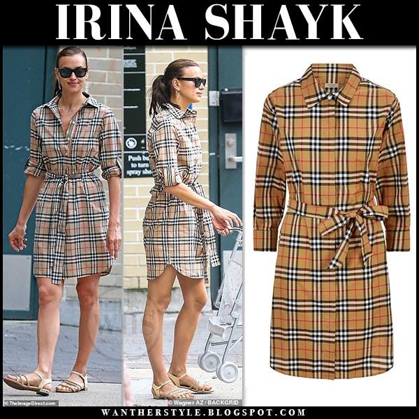 Irina Shayk in beige check print shirt dress burberry isotto. Celebrity summer street style june 17