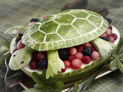turtle watermelon fruit carving arts