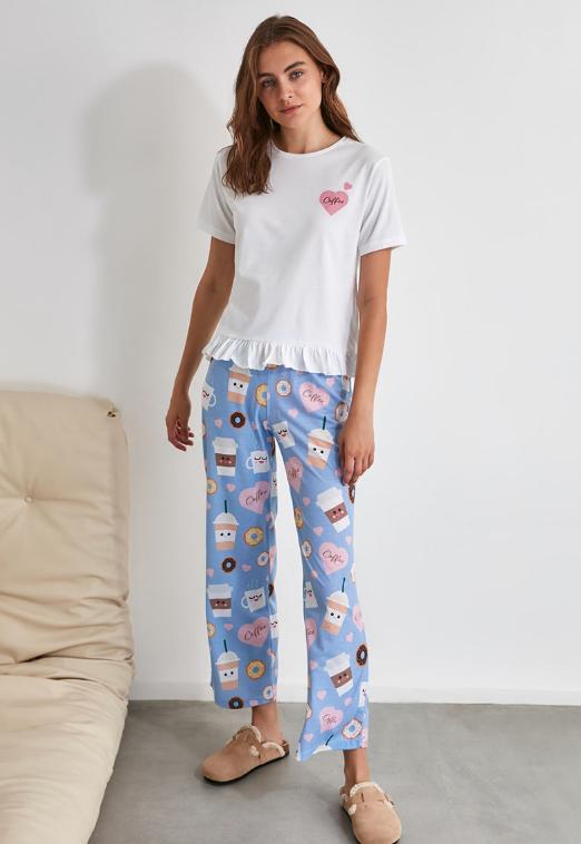 Pijama femei frumoasa albastru cu alb cu imprimeu grafic
