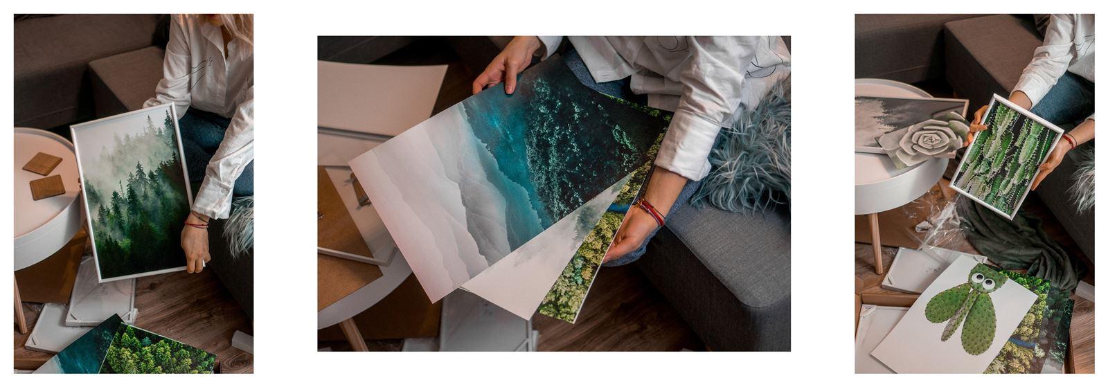 2Ajak urządzić biuro w domu - dekoracje do biura, zielona ściana w mieszkaniu, jak zaprojektować galerię plakatów, plakaty krajobrazy rośliny na ścianę jak zawiesić obraz na ścianie stylowe plakaty