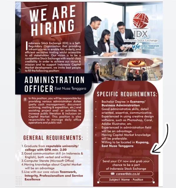 Loker Kupang Administration Officer di Bursa Efek Indonesia NTT