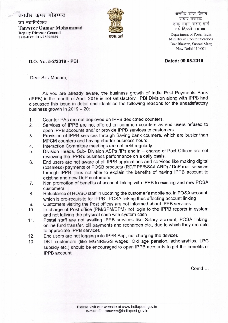 IPPB Issues in detail - DO Letter on 09.05.2019