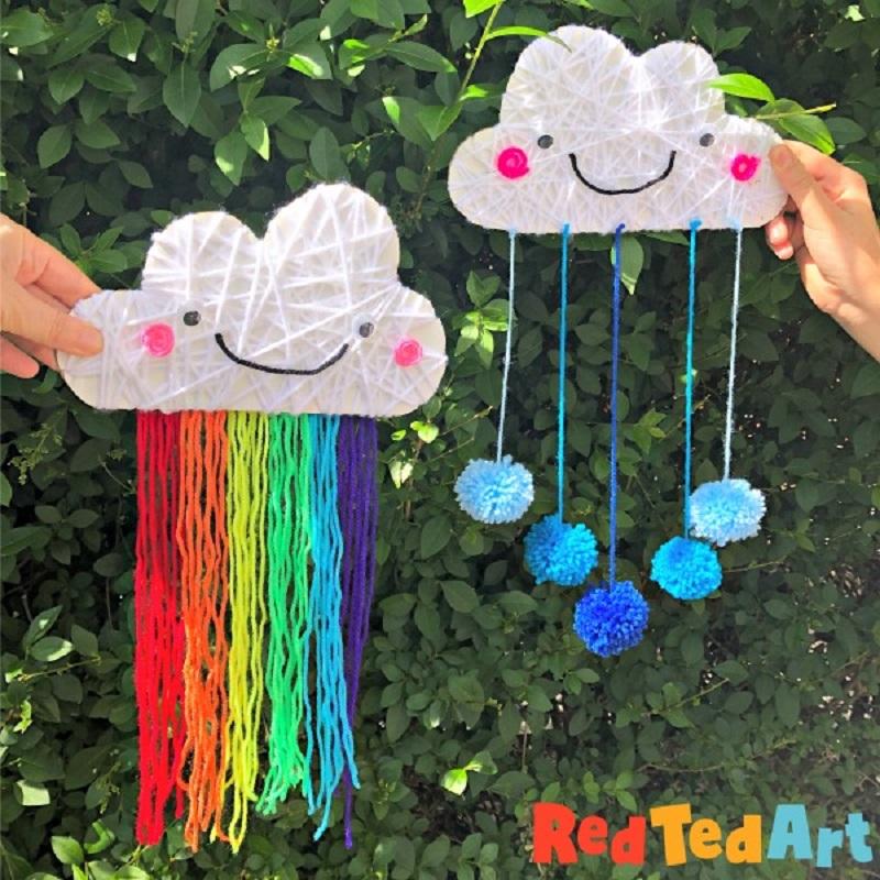 yarn rainbow cloud wall hanging