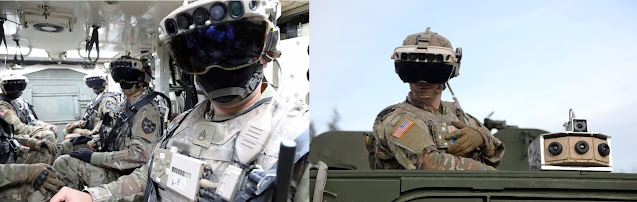 جندي يرتدي نظارة نظام التعزيز البصري المدمج IVAS داخل عربة مدرعة   IAVS Goggles