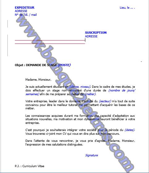 Partenaire De Réussite Demande De Stage Exemple N 2