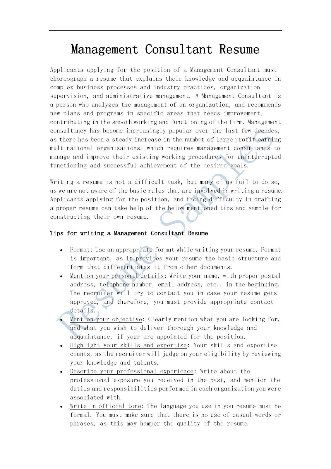 consultant resume 26042017