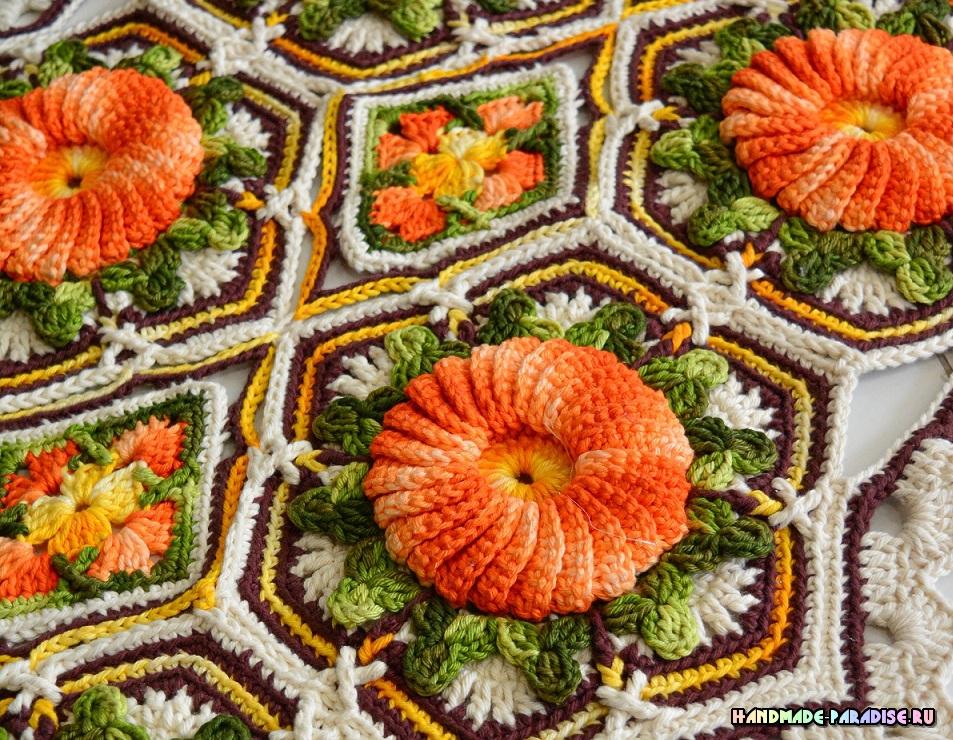 «Оранжевая цветочная плитка» - коврик крючком (2)