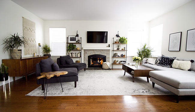 A Stunning Midcentury Boho Style Living Room Reveal