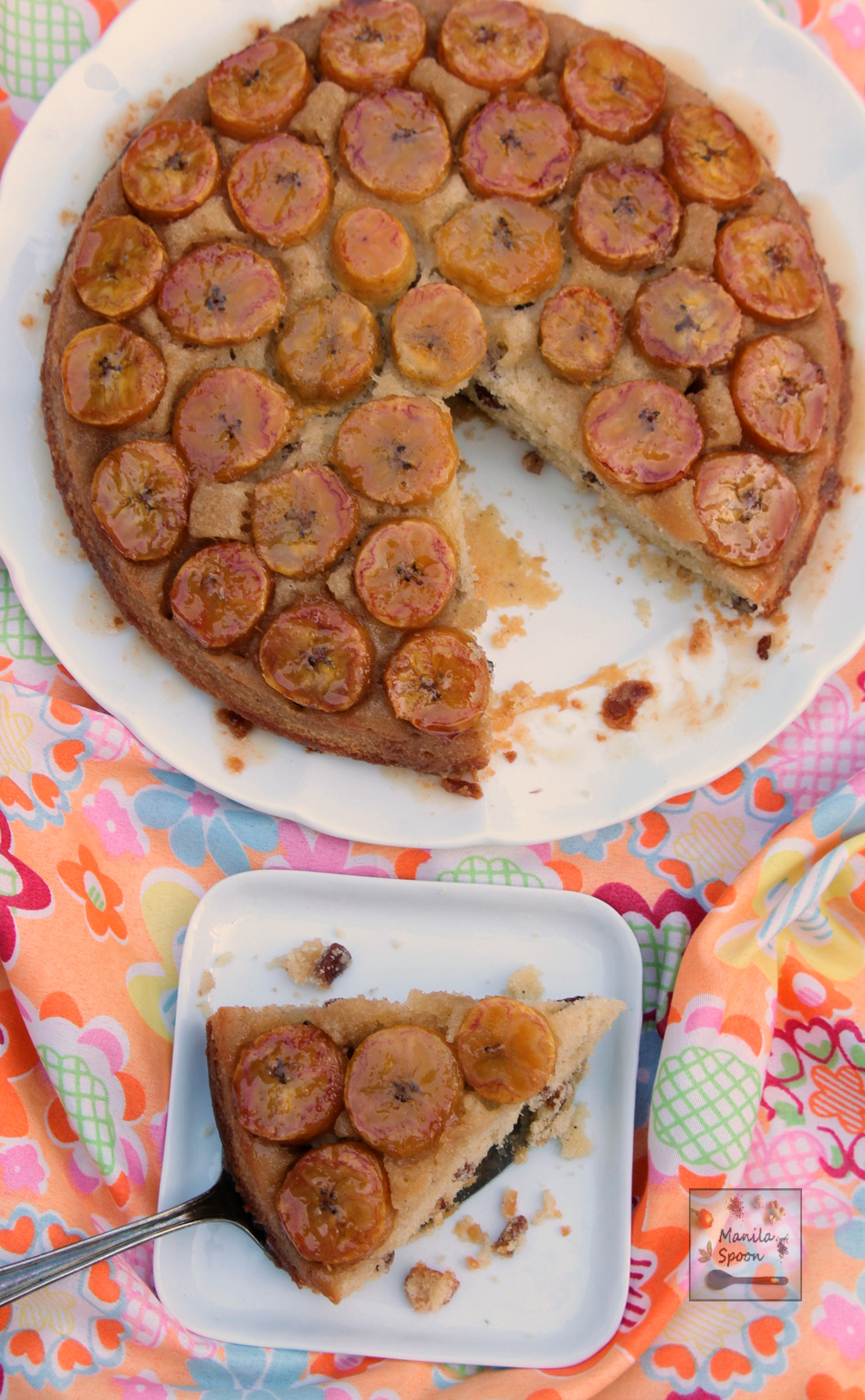 Use sweet ripe bananas or plantains to make this light, super-moist and delicious upside down cake!