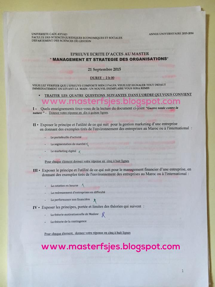 Master Management et Stratégie des Organisations