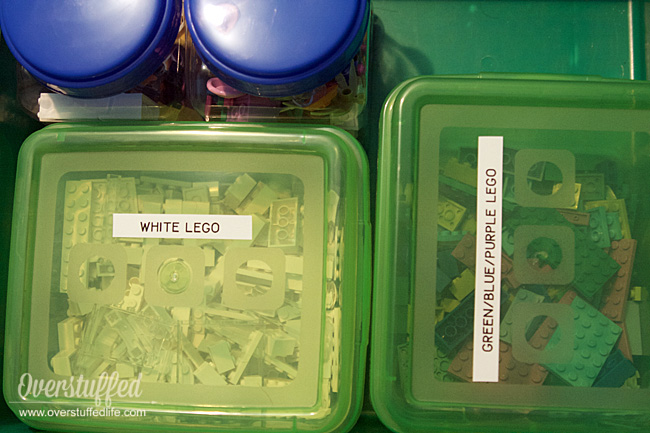 Use a labelmaker to label the toys in your playroom—including LEGO bins.