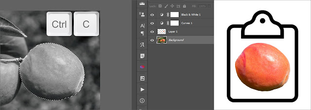 Copy selection on active layer in Photoshop