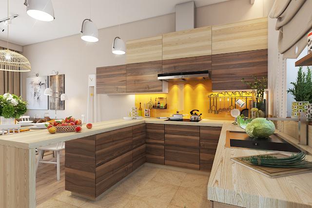 желтая рабочая стена на кухне