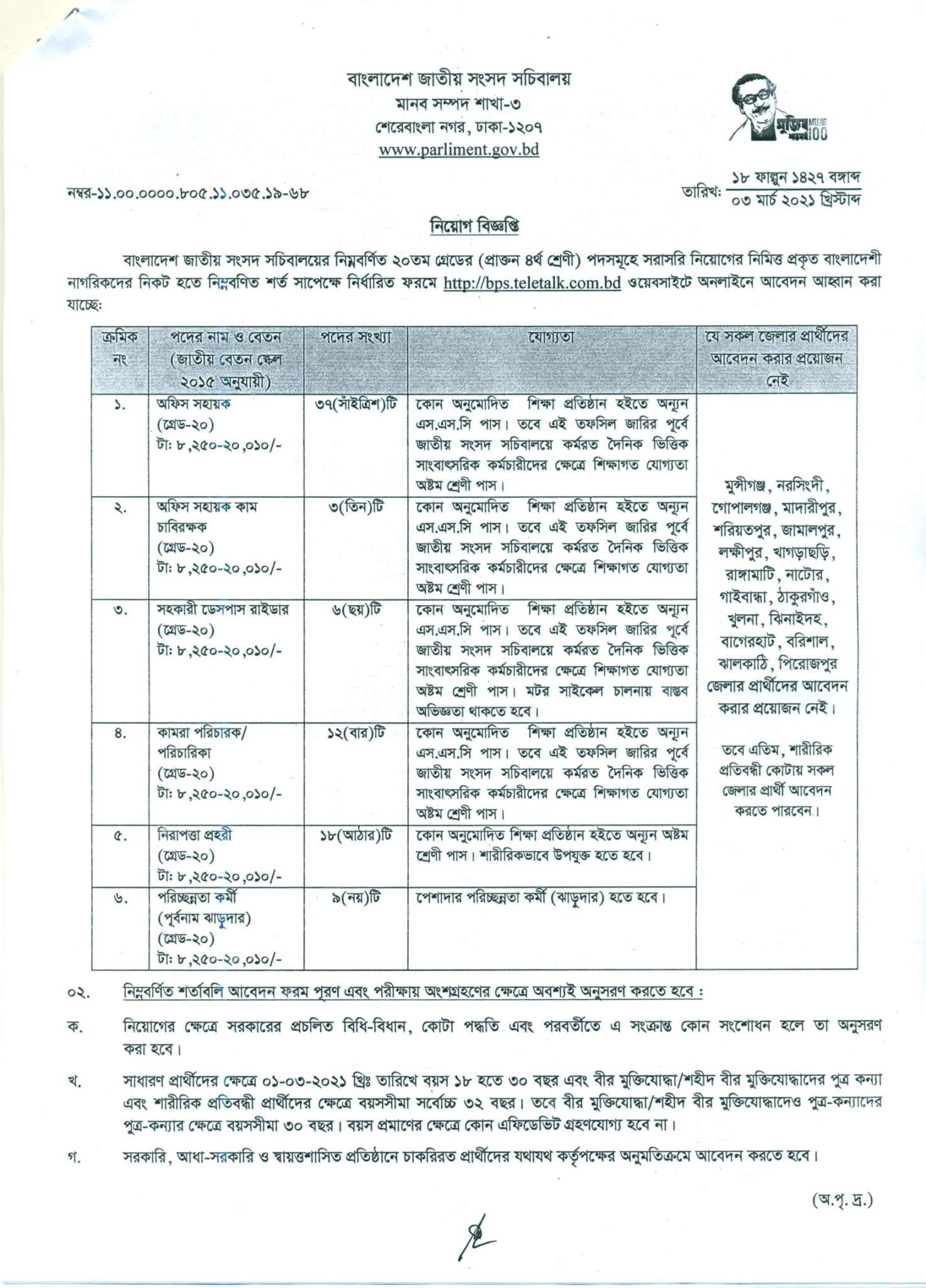 BPS Job Circular 2021