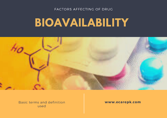 Basic Terms and Definition used in Bioavailability Curve and Factors Affecting Bioavailability
