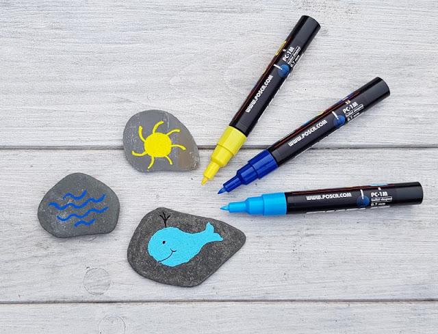 DIY: Ein Steinmemory für Kinder aus bemalten Steinen. Mit Stiften bemalt Ihr die gesammelten Steine, überlegt Euch vorher die Motive.