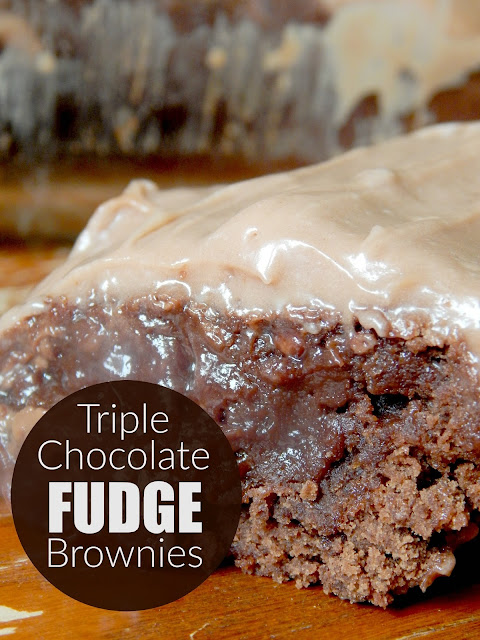 triple chocolate fudge brownies (sweetandsavoryfood.com)