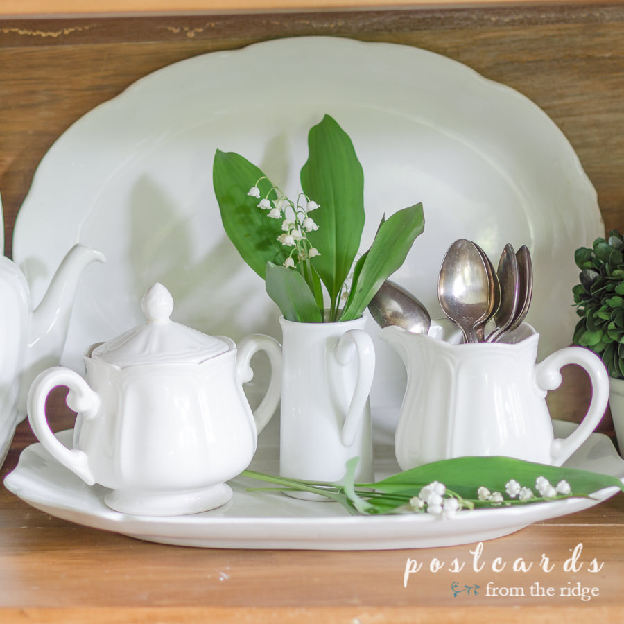 white ironstone sugar and creamer with lily of the valley
