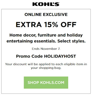Kohls coupon 15% OFF furniture and home decor