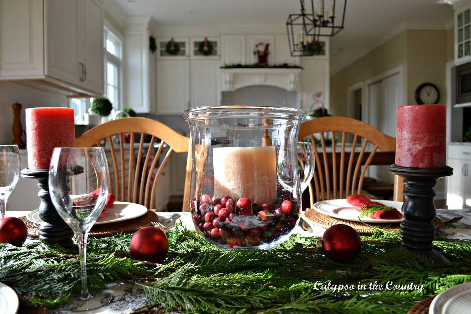 Christmas Table with Red and Black