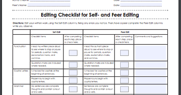 An Excellent Editing Checklist to Help Students with Their Writing