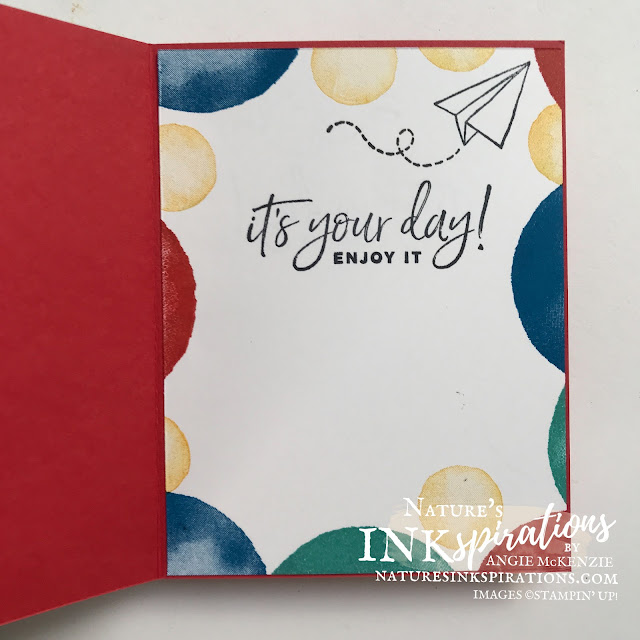 By Angie McKenzie Stampin' Up! Demonstrator for Some Birthday Fun for Fri-YAY!; Click READ or VISIT to go to my blog for details! Featuring the Watercolor Shapes Photopolymer Stamp Set, Biggest Wish Photopolymenr Stamp Set, Happiest of Birthdays Cling Stamp Set and the Sweet Farewell Cling Stamp Set by Stampin' Up!®; #stampinup #handmadecards #naturesinkspirations #simplestamping #birthdaycard #watercolorshapes #biggestwish #happiestofbirthdays #sweetfarewell  #cardtechniques #hingestamping