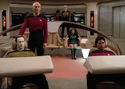 Early TNG-era uniform jumpsuits in Star Trek: The Next Generation pilot