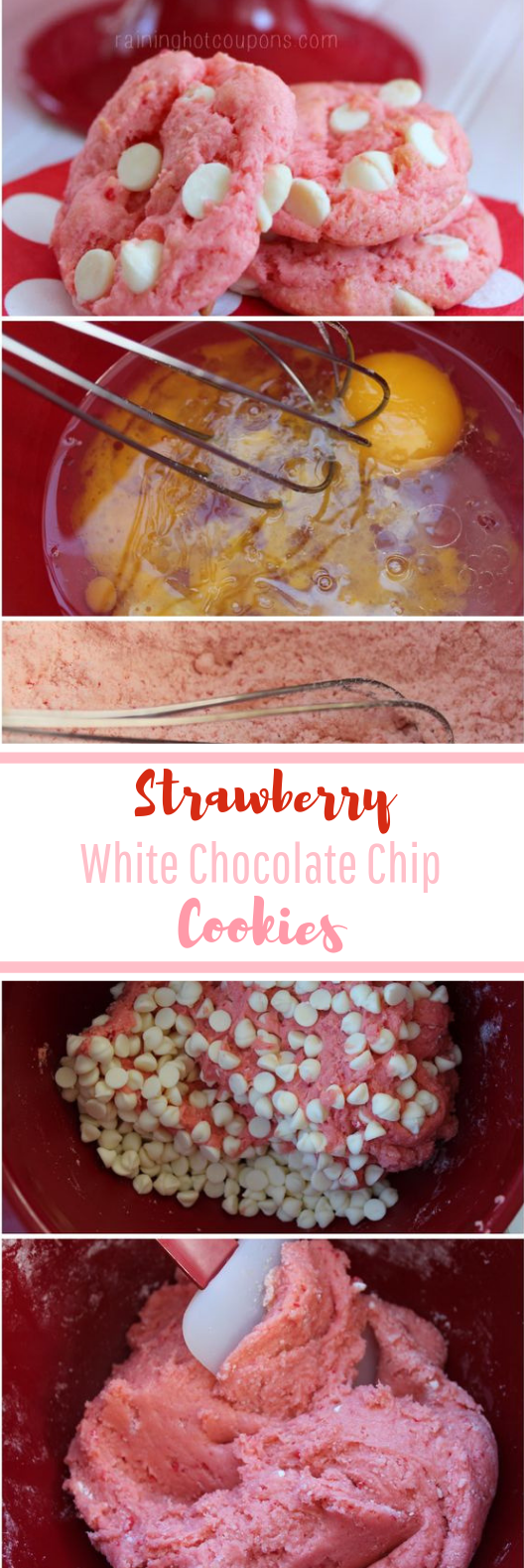 Strawberry White Chocolate Chip Cookies #pink #desserts