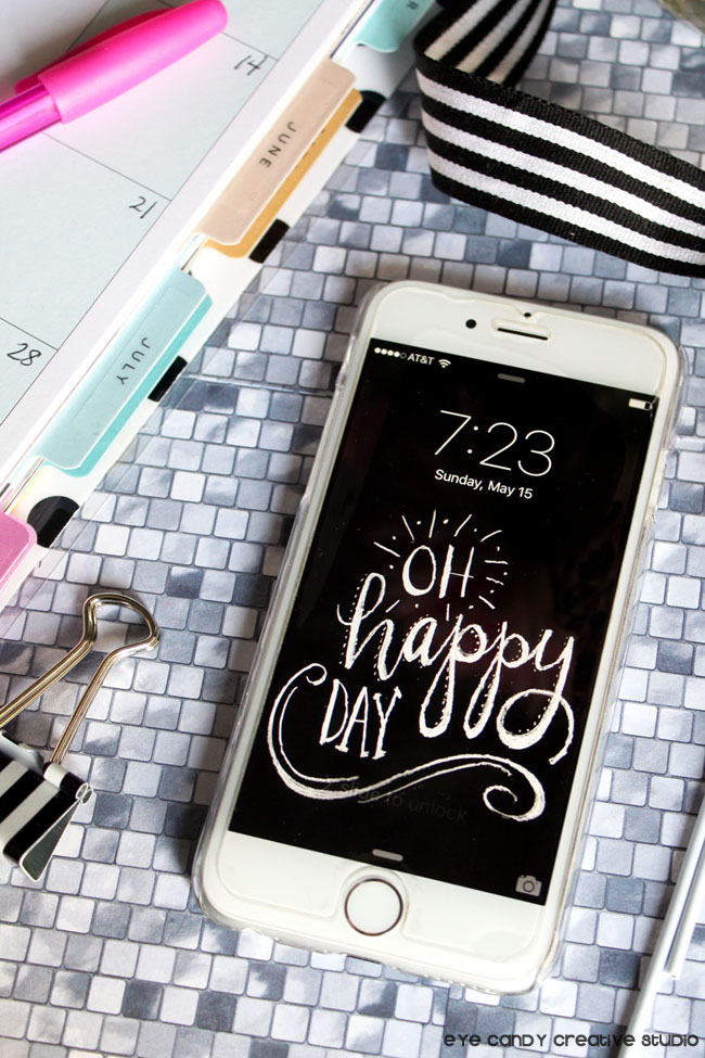 chalkboard lettering, oh happy day, black & white design, cell phone wallpaper