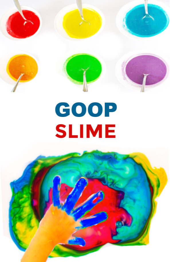 Wow the kids with sensory science and make goop slime!  This no glue recipe is taste-safe. #growingajeweledrose #slimefortoddlers #slimeforkids #slimerecipe #slime #goop #gooprecipe #gooprecipecornstarch #goopslime #goopslimerecipe #cornstarchandwater #cornstarchslime