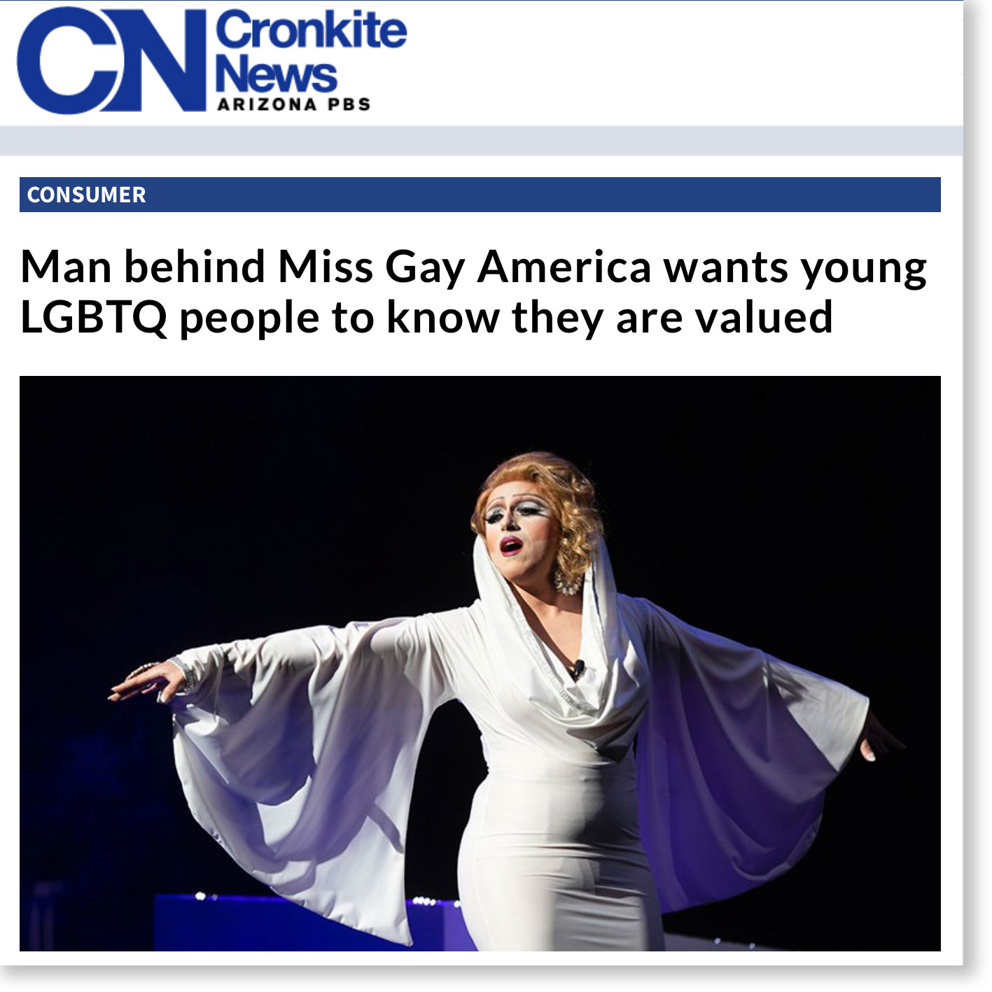 """Man behind Miss Gay America wants young LGBTQ people to know they are valued"" – Cronkite News/PBS Arizona"